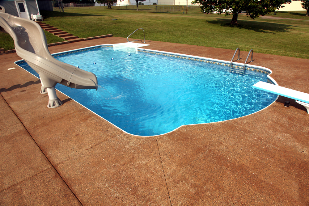 Inground Pools With Diving Board And Slide zanesville custom water features photos