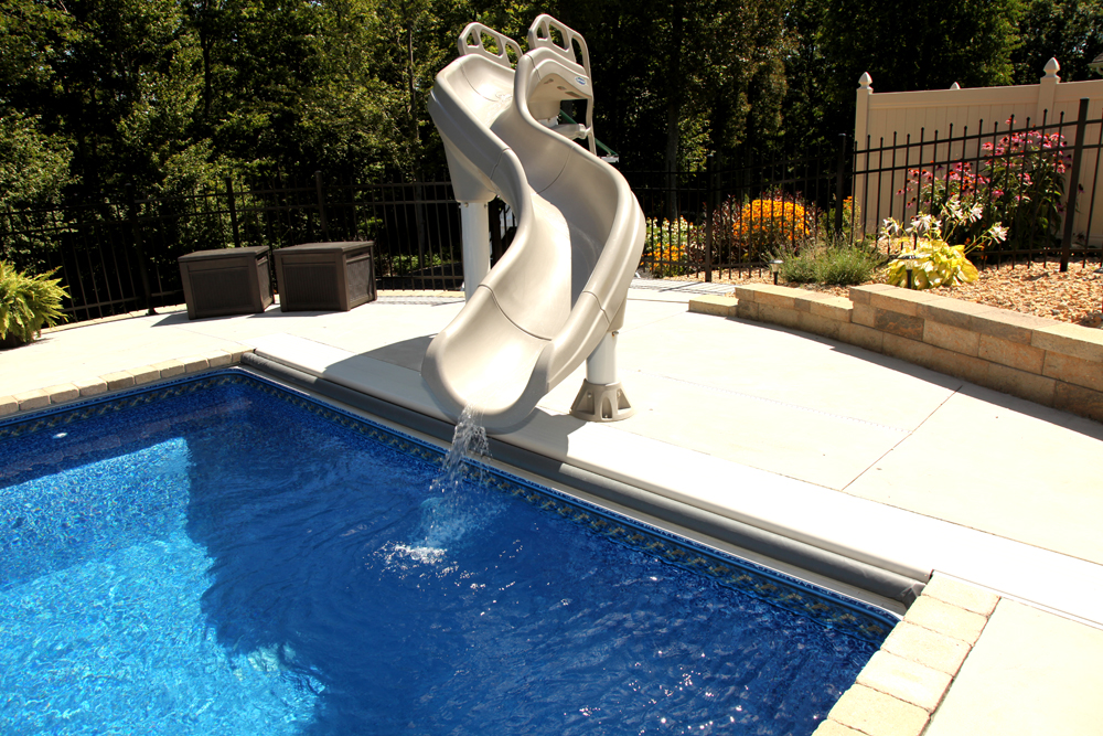 Inground Pools With Slide zanesville custom water features photos